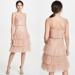 NWT Marchesa Notte Glitter Tulle Cocktail Dress